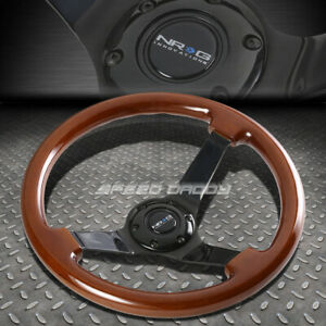Nrg 350mm 3 deep Dish 6 hole Classic Dark Brown Wood Steering Wheel Black Center