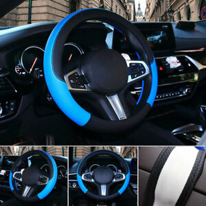 Black Blue 38cm 15 Car Steering Wheel Cover Pu Leather Grip Non Slip Durable