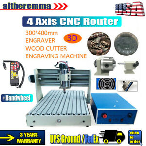 Cnc 3040 Router Engraver 400w 4axis 3d Cutting Milling Carving Machine handwheel