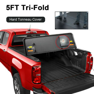 5 Ft Tri fold Hard Solid Tonneau Cover For 2019 2021 Ford Ranger Bed Truck