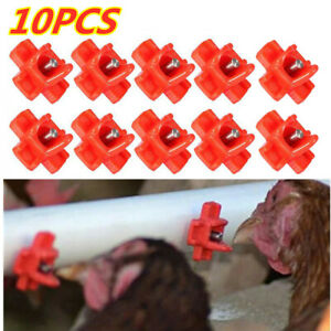 10pc Horizontal Side Mount Chicken Nipples Waterer Automatic Poultry Drinker