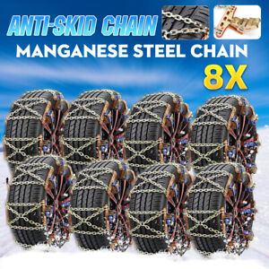 8x Car Tire Snow Chains Anti skid Winterwheel Safety Chain Wear resistant Steel