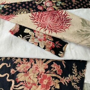 Antique Vintage French Fabric Scraps Pack Linen Towel 19th Century Fabrics