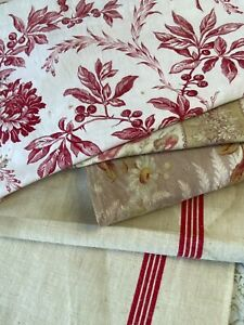 Antique Vintage French Fabric Scraps Pack 19th Century Floral Fabric Remnants