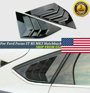 2pcs For Ford Focus St Rs Mk3 Hatchback Glossy Black Window Side Louvers Vent