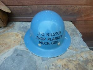 Vintage Fiber metal Blue Hard Hat Construction Helmet
