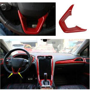 Red Carbon Fiber Steering Wheel Sheet Cover Trim For Ford Mondeo Fusion 2013 20