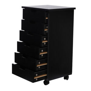 6 drawer Office Wood Filing Cabinet Mobile Document Storage Cabinet For Closet