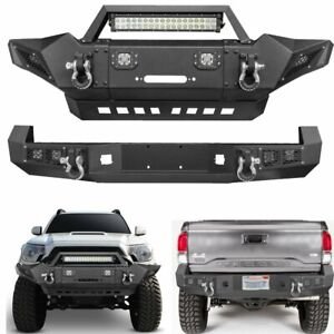 Steel Front Rear Bumper W Led Lights Winch Plate D Ings Fit Toyota Tacoma 05 15