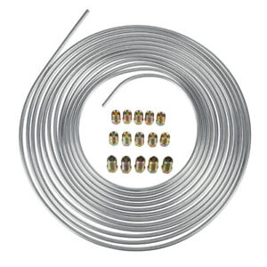 Zinc Steel Brake Line Tubing Kit 3 16 25 Ft Coil Roll With 15pcs Nuts Fittings