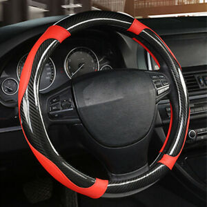 1 Pcs Carbon Fiber Stitching Steering Wheel Cover Black And Red Non slip 38cm