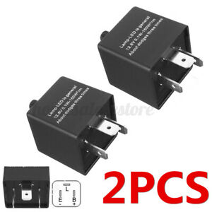 2pcs 3 Pin Cf14 Car Flasher Relay Led Turn Signal Blinker Light Hyper Flash Us