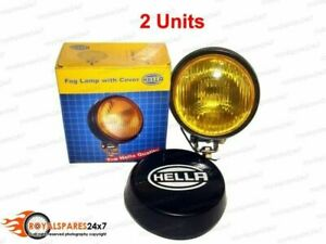 Pair Universal Genuine Hella Round Fog Lamp Yellow Glass Cover Without Bulb