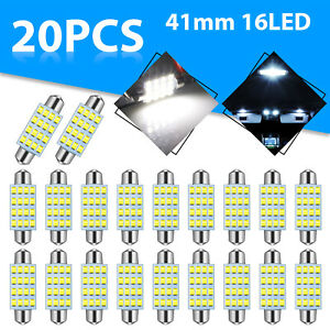 20x 6000k Super White 41mm 42mm Festoon Led Interior License Dome Map Light Bulb