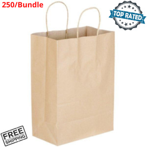 250 Natural Brown Kraft Paper Shopping Bags With Handle 9 11 16 x5 1 2 x13 1 4