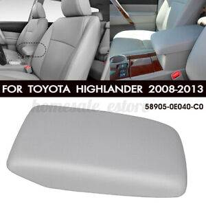 Center Console Armrest Lid Cover For Toyota Highlander 2008 2013 Pu Leather Gray