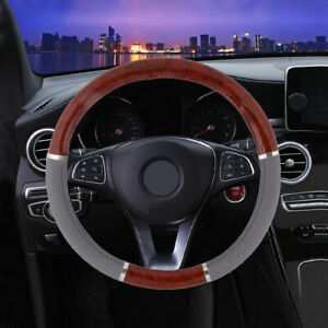 Wood Grain Steering Wheel Cover For Car Auto Vehicle Lux Grip Gray Syn Leather