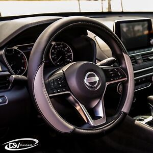 Dsv Standard Gray Leather Car Steering Wheel Cover 15 Inches