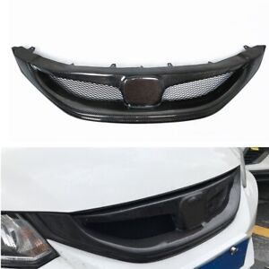 Car Carbon Fiber Front Bumper Grille Grill For 2013 15 9th Honda Civic Sedan Si