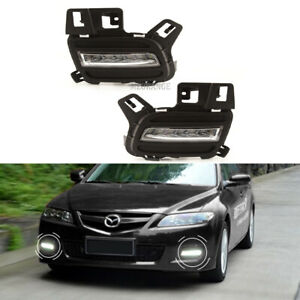 Led Pair Fog Lights Lamps For Mazda6 2005 2006 2007 2008 2009 Drl W Bulbs Lh