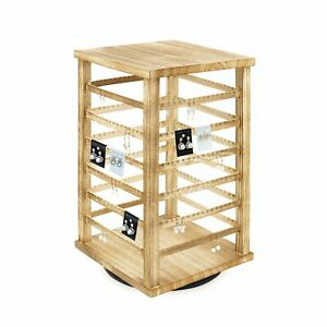Large Natural Wood Oak Color Rotating Jewelry Earring accessory Storage Display