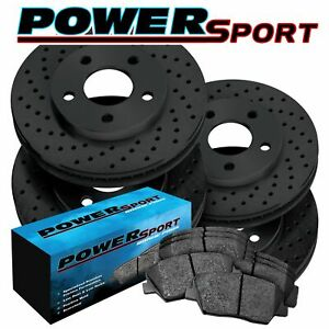 Fit 2011 2012 Ford Mustang Front Rear Black Drilled Brake Rotors ceramic Pads