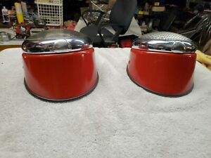 Vintage Pair 40 s 50 s School Bus Fire Truck Rat Rod Red Tail Lights Ford Chevy