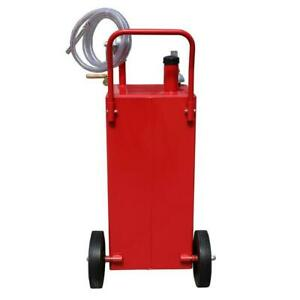 30 Gallon Red Gas Fuel Diesel Caddy Transfer Tank Container 8 Feet Hose New