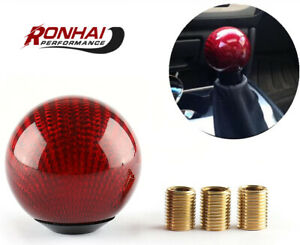Car Gear Shift Knob Round Ball Shape Carbon Fiber Head Shifter Lever Universal