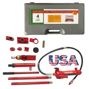 4 Ton Portable Power Hydraulic Jack Lift Red Heavy Duty For Auto Truck
