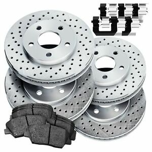 Fit 2007 2011 Ford Mustang Front Rear Psport Drilled Brake Rotors ceramic Pads
