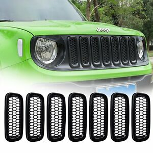 7pcs Front Mesh Grill Guard Grille Insert Cover Trim For 2015 2018 Jeep Renegade