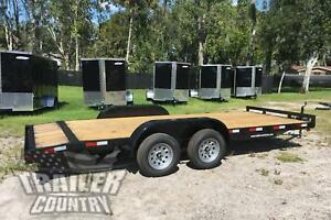 New 2020 7 X 18 7k Flatbed W Dovetail Wood Deck Open Car Hauler Utility Trailer