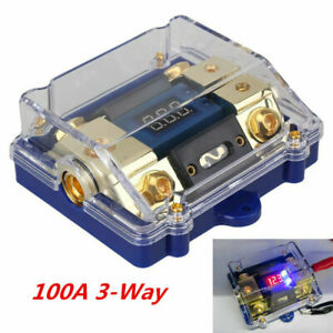 100a 3 Way Car Audio Stereo Fuse Holder Ground Cable Splitter Distribution Block