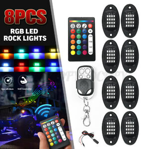 8pcs Led Rgb Music Control Rock Light Under Body Car Underglow Lamp Dual Remote