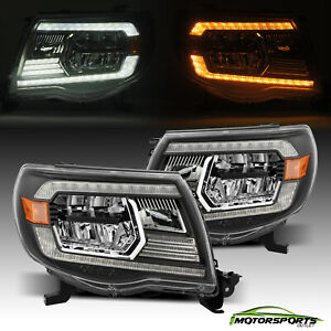 For 2005 2011 Toyota Tacoma Black Led Crystal Headlights Assembly Left right
