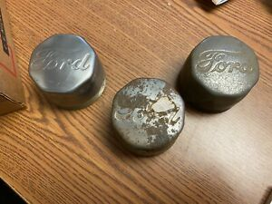 Threaded Ford Script Wheel Hub Center Caps Dust Grease Covers Lot Of 3 Nos 720