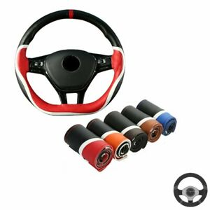 Mix Color 15 38cm Genuine Leather Diy Car Auto Steering Wheel Cover W Needles