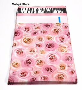 100 Pink Roses Designer 9 X 12 Mailer Poly Bags Mailing Plastic Bags