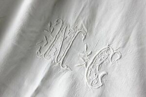 Vintage French White Linen Cotton Cloth Nc Tablecloth 53x73 Inches