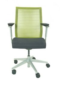 Steelcase Think Chair Green Adjustable Black Base frame Refurbished