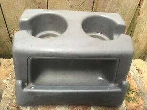 92 96 Ford F150 F250 F350 Bronco Bench Seat Console Dual Cup Holder Light Gray