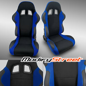 2 X Blue black Pineapple Fabric pvc Leather Racing Bucket Seats Slider Pair