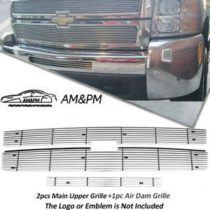 For 2007 2010 Chevy Silverado 2500hd 3500hd Billet Grille Combo Chrome Insert