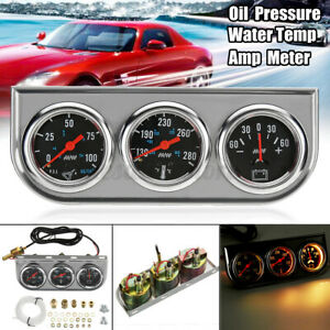 Universal 2 52mm Chrome Oil Pressure Water Temp Volt Triple Gauge Set 3 In 1 Us