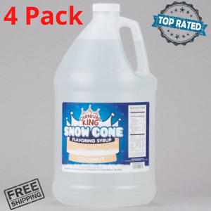 4 Pack Your Choice 1 Gallon Syrup Mix Flavors Snow Cone Machine Shaved Ice New