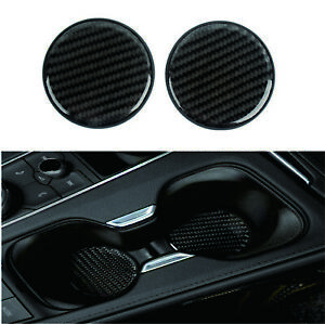 2x Black Carbon Fiber Car Cup Holder Pad Water Cup Slot Non Slip Mat 4 All Cars