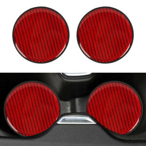 2pcs Red Carbon Fiber Car Cup Holder Pad Water Cup Slot Non Slip Mat 4 All Cars