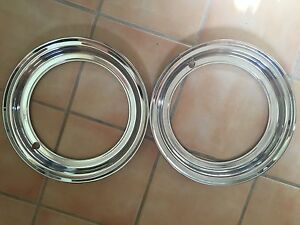 Two Classic Car Vintage Rally Wheel Beauty Trim Rings Rare