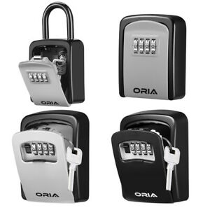 Outdoor Wall Mounted padlock 4 digit Combination Key Lock Storage Security Box